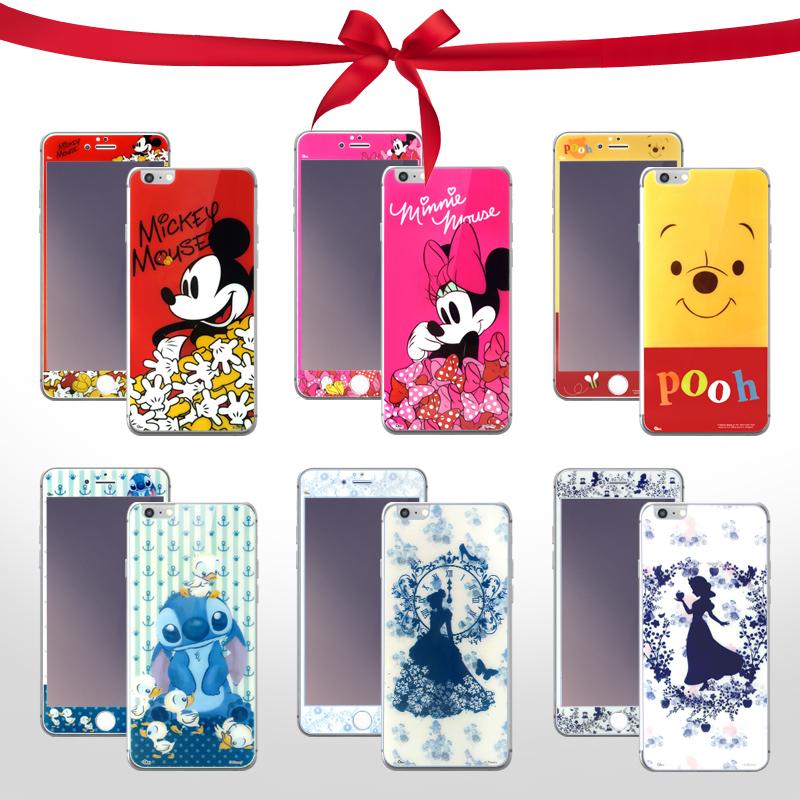 正版授權 迪士尼 Disney Apple iPhone 6 Plus (5.5吋)正+反 鋼化玻璃保護貼/強化/高透/仙杜瑞拉/白雪公主/維尼/米奇/米妮/史迪奇/醜丫頭