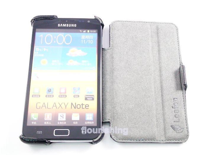 Leafon SAMSUNG Galaxy Note N7000 I9220 側入皮套/側入掀蓋盔甲皮套/保護套/保護殼 (蛇皮紋)