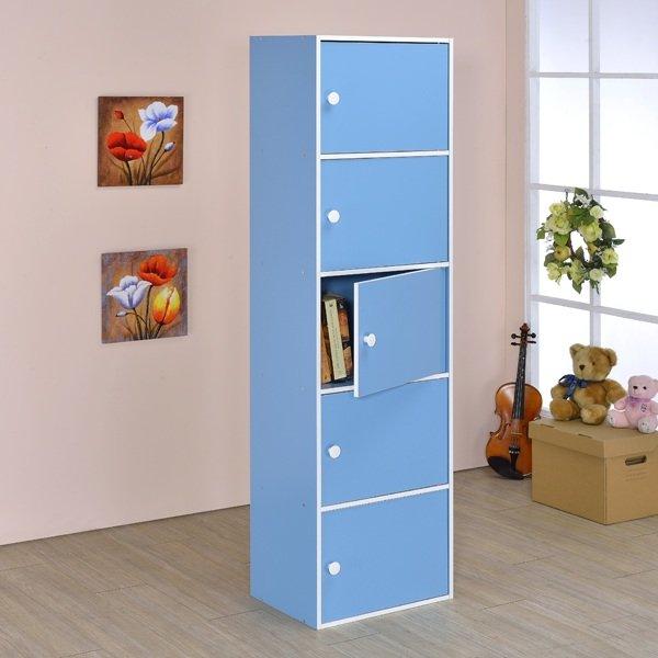 生活大發現-台灣製造/品質保證/粉彩五門櫃/組合櫃/收納櫃/置物櫃/書櫃/書架/高低櫃/展示櫃/此為藍色下標區