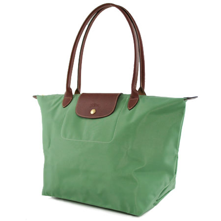 [1899-M號] 國外Outlet代購正品 法國巴黎 Longchamp 長柄 購物袋防水尼龍手提肩背水餃包淺綠色