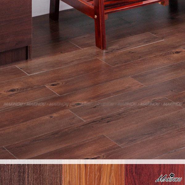 日本MAKINOU 組裝地板|日本和風 胡桃木色 自粘式耐磨塑膠地磚-18入--100*600mm 厚1.5mm|日本牧野 腳踏墊 MAKINO