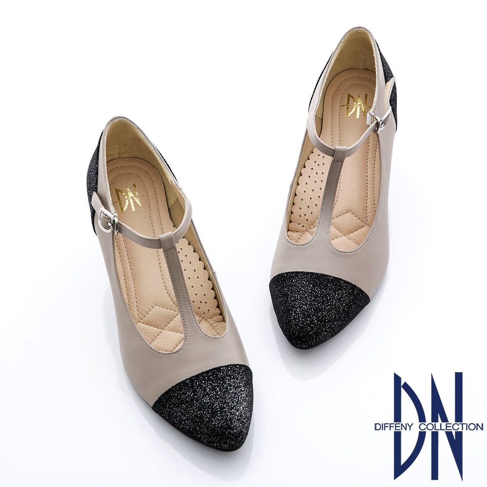 DN 復刻時尚 真皮金蔥拼接瑪莉珍款跟鞋