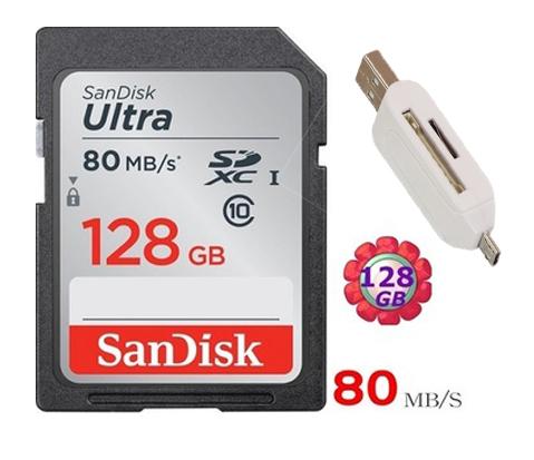 送 T05 OTG 雙槽讀卡機 SanDisk 128GB 128G SDXC【80MB/s】SD Ultra UHS-I UHS C10 Class 10 原廠包裝 相機記憶卡