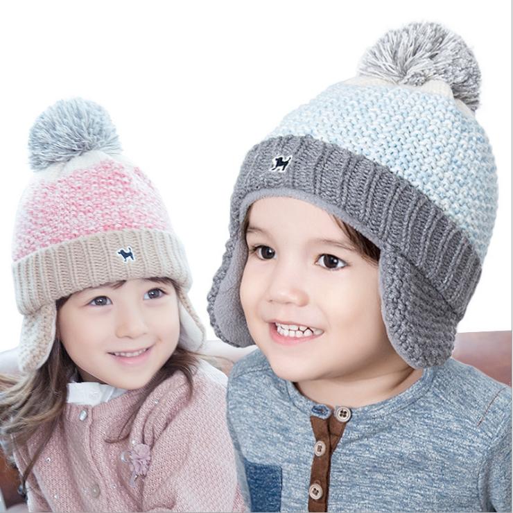 Lemonkid秋冬漸變冰淇淋色小狗dog立體毛球保暖針織兒童護耳毛線帽
