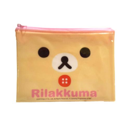 【真愛日本】15091900013拉鍊化妝包-奶熊大臉 SAN-X 懶熊 奶妹 奶熊 拉拉熊 化妝包 萬用包 收納包