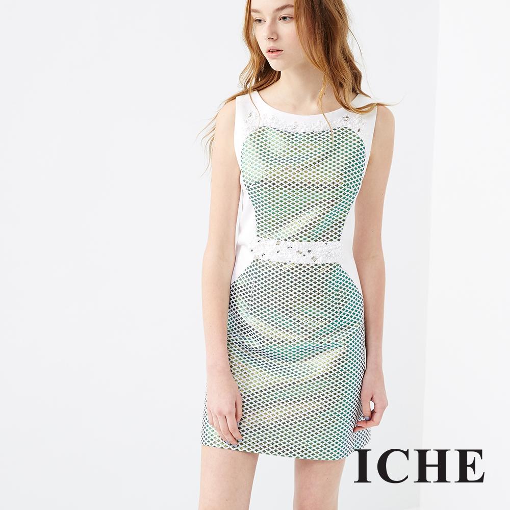 ICHE 衣哲 立體幾何提花拼接洋裝