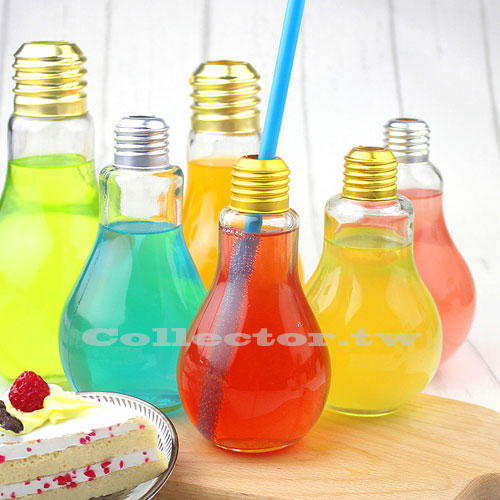 【F16062002】燈泡飲料瓶 奶茶瓶 燈泡玻璃瓶 創意飲料造型杯 派對飲料杯 附蓋子密封塞