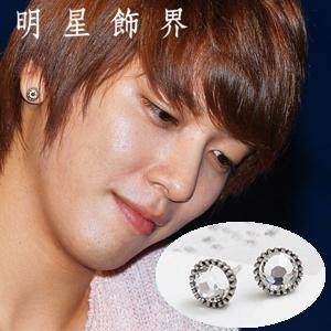 | Star World。Earring | CNBlue 鄭容和 同款復古銀邊水晶圓耳釘耳環 (單支價)