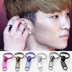 SHINee Key 簡約時尚潮流可調式拉鍊戒指