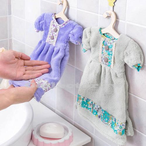 【E16040801】可愛連衣裙加厚珊瑚絨擦手巾 小洋裝超強吸水掛式廚房毛巾