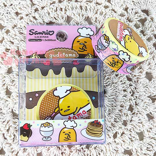 〔小禮堂〕蛋黃哥 紙膠帶《粉黃.甜點.廚師帽.星星.15mm》