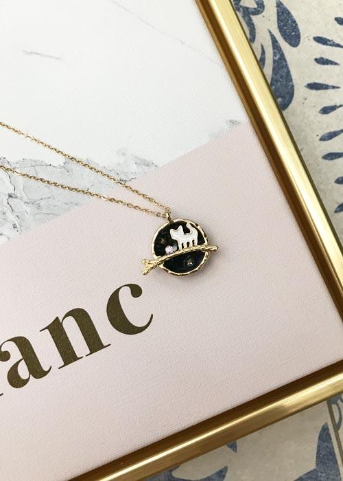 韓國飾品,貓咪圖案項鍊,立體圖案項鍊,圓形項鍊