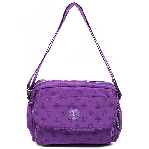 冰山袋鼠 日系防水斜側背兩用包-0025-浪漫愛心獨家款(深紫)