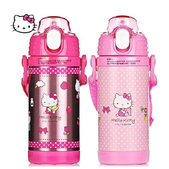 新款2015Hello Kitty 凱蒂貓 不鏽鋼真空保溫吸管水壺/保溫壺350ML/單售(KT-3717)