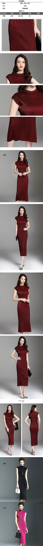 無袖洋裝-V領褶皺寬鬆背心裙女連身裙