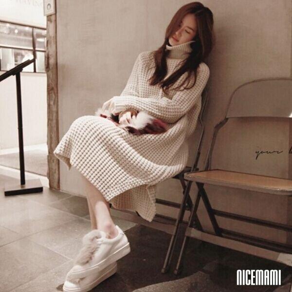 *漂亮小媽咪*韓國 高領 過膝 毛衣 長裙 開叉 粗毛線 針織 連衣裙 孕婦裝 洋裝 D0165ST