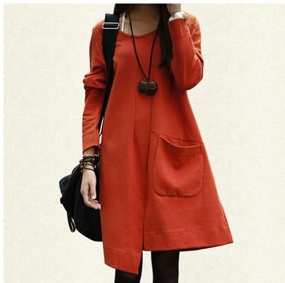 滿700再折$100 [ 幾何 ] 加厚棉麻立體拼接層次長袖洋裝(3色,M-2XL) - 御聖願