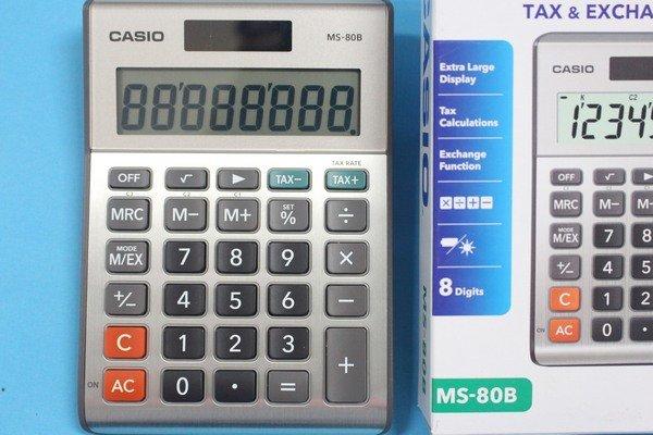 CASIO計算機 MS-80B 8位數桌上小型計算機(大字幕)8位數/一台入{定499}~快速輸入反應及有稅率鍵~