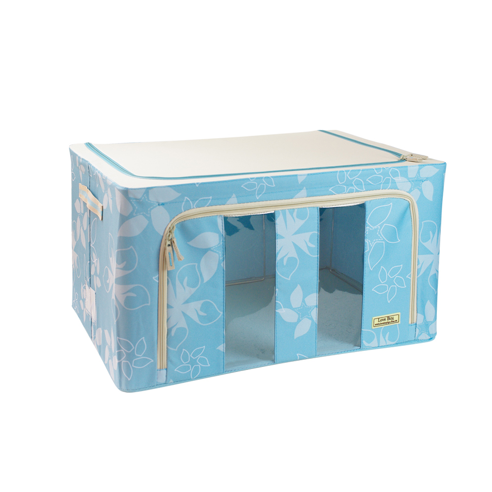 【多美家 DUOMEIJIA】日式鐵架萬用收納箱 80L(薄荷藍)