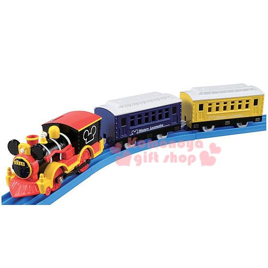 〔小禮堂〕迪士尼 米奇 造型連結火車玩具組《黃紅黑.火車頭.車廂.盒裝》