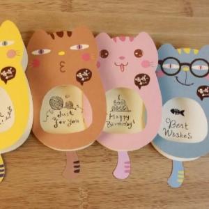 美麗大街【BF215E063】創意文具可愛萌貓咪個性賀卡系列禮物卡片祝福卡片