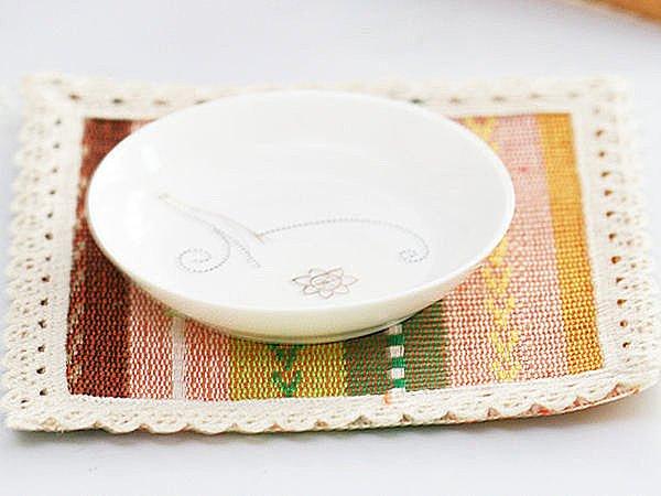 BO雜貨【SV3323】歐式純棉編織正方形隔熱杯墊 隔熱墊 防燙墊 宴客派對 玫瑰 五彩 15cm