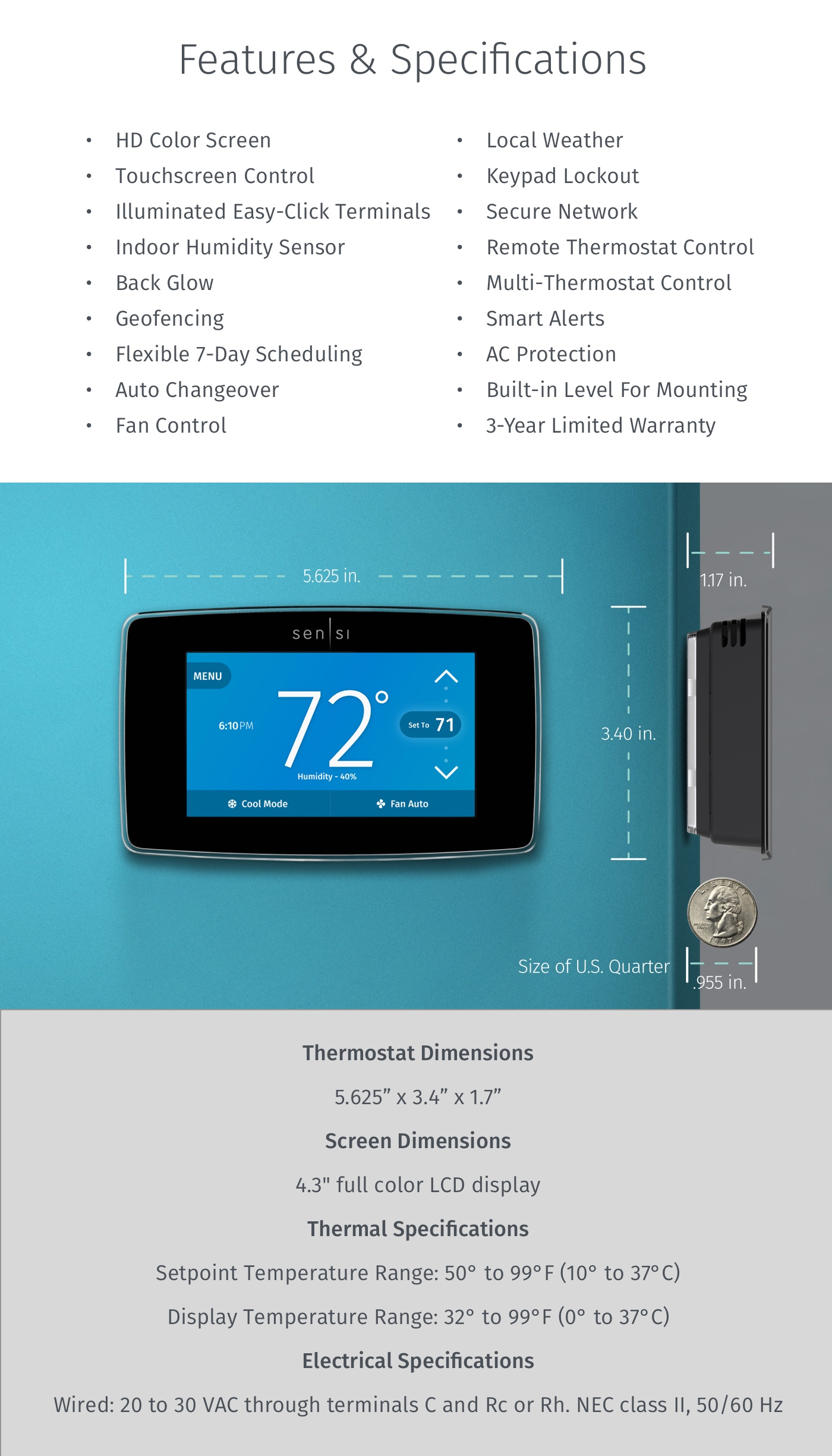 Emerson Thermostats  Emerson Sensi Touch Wi