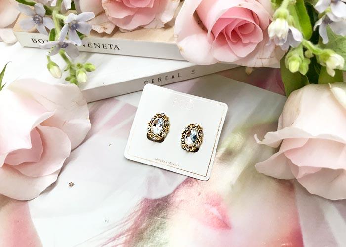 韓國飾品,寶石耳環,夾式耳環,螺旋夾耳環