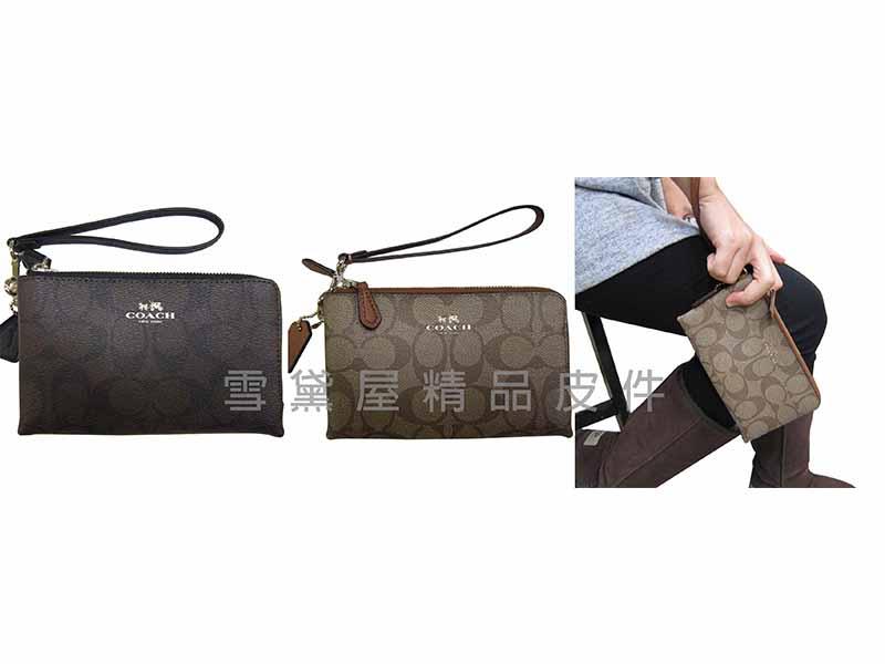 ~雪黛屋~COACH 手拿包國際正版保證L雙層拉鍊主袋可手提手拿萬用分類包多功能100%進口牛皮革軟材質 F64131