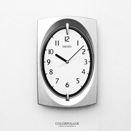 SEIKO精工時鐘 古典優雅長方銀色拱弧造型掛鐘 時尚有型 生活美學 柒彩年代【NG1】原廠公司貨