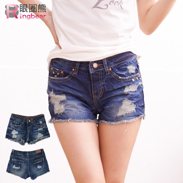 短褲--獨特魅力鉚釘刷破橘色釦牛仔短褲(S-7L)-R112眼圈熊中大尺碼
