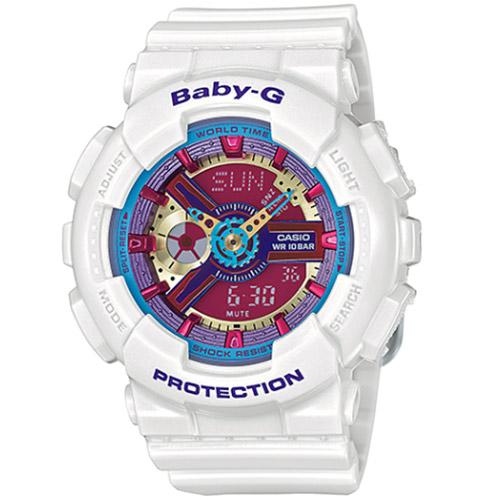 CASIO BABY-G BA-112-7A個性白彩女孩雙顯流行腕錶/彩色面43.4mm