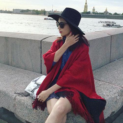 斗蓬披肩 雙面流蘇針織斗蓬/披肩/圍巾【LQD505】 BOBI 10/20