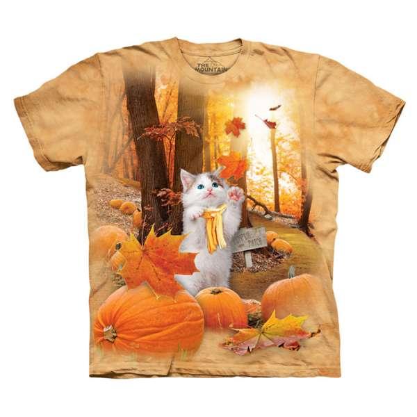 【摩達客】(預購)美國進口The Mountain 南瓜秋之貓 純棉環保短袖T恤