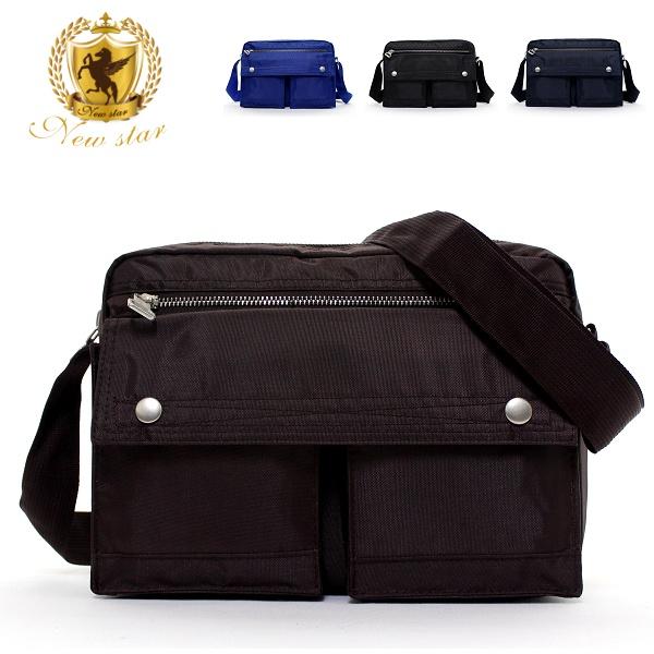 側背包 日系雙口袋雙層斜背包 porter風 NEW STAR BL49