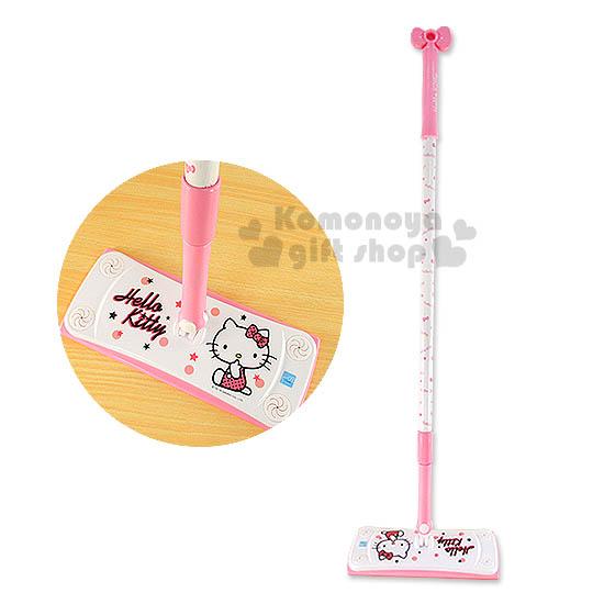〔小禮堂〕Hello Kitty 靜電除塵拖把《粉白.大臉》輕鬆美化空間