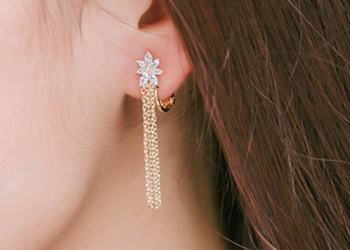 夾式耳環,耳夾式耳環,雪花耳環,水晶耳環,無耳洞耳環,正韓飾品,韓貨耳環