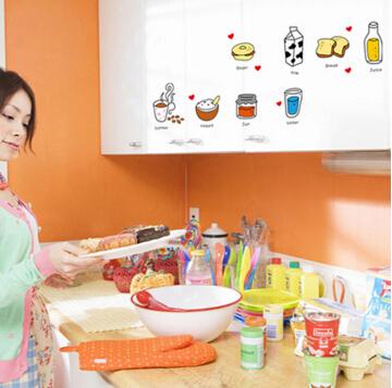 可愛卡通兒童牆貼餐廳廚房冰箱磁磚玻璃防水牆壁貼畫英文單字水果貼圖【no-45471762824】
