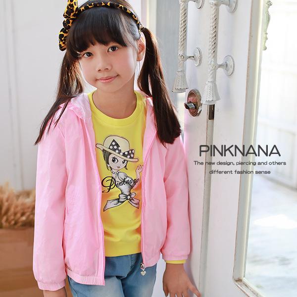 PINKNANA童裝女童粉色輕薄防風外套31166