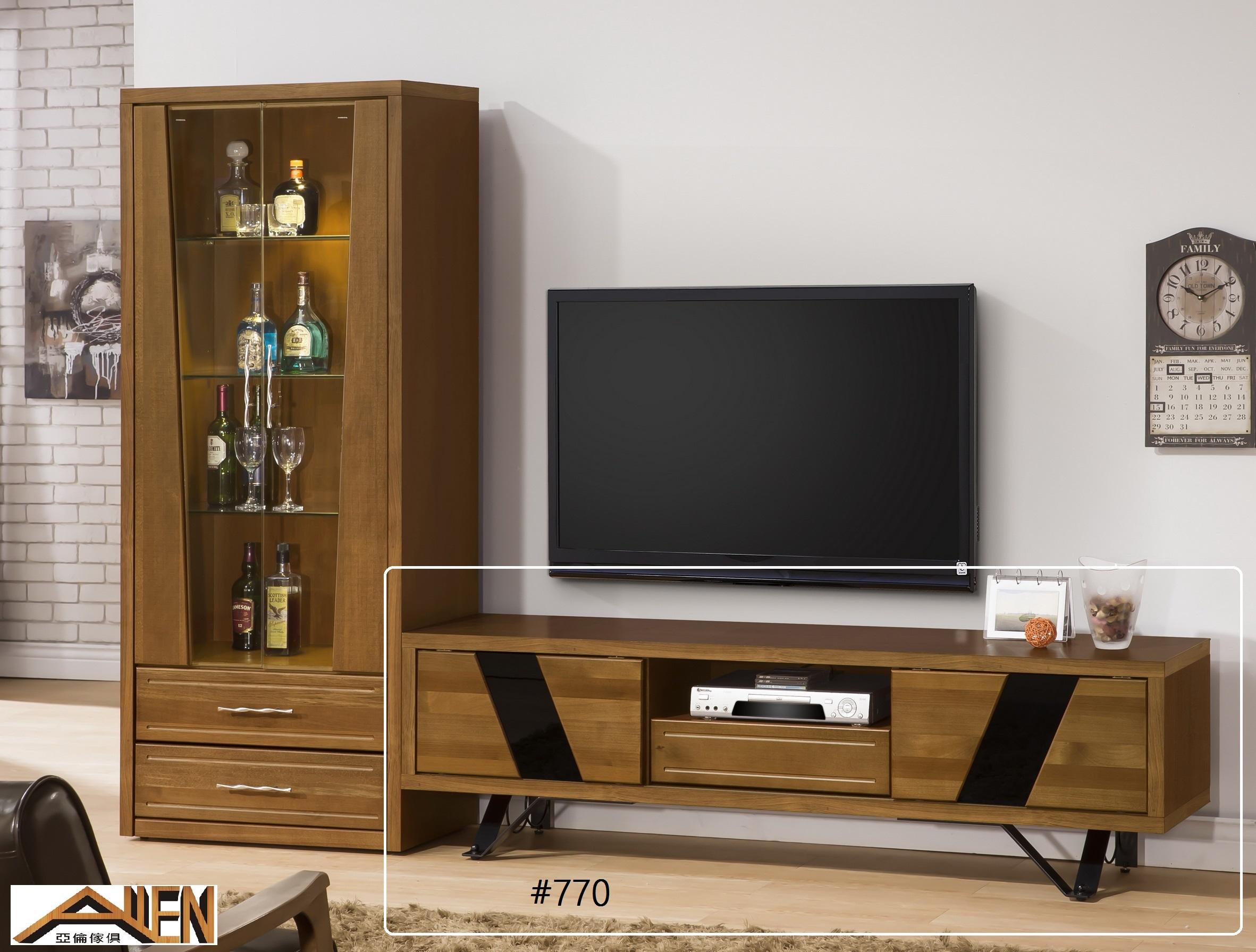 亞倫傢俱*文森卡索南洋檜實木6尺電視櫃 (烤漆鐵腳)