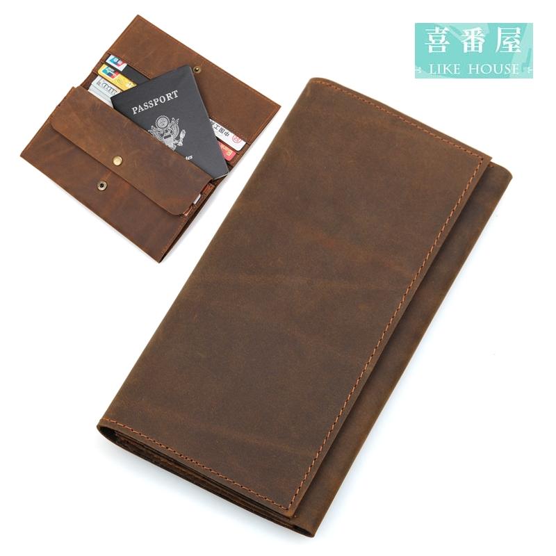 【喜番屋】日韓版真皮頭層牛皮10卡位男士2折皮夾皮包錢夾零錢包長夾男夾男包LH378