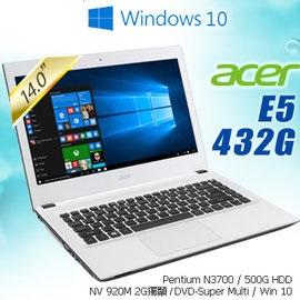 ACER E5-432G-P4TK 14吋 筆電N3700 / 1*4G / 500G_L / SM / W10HML64-000/UN.MZKTA.000