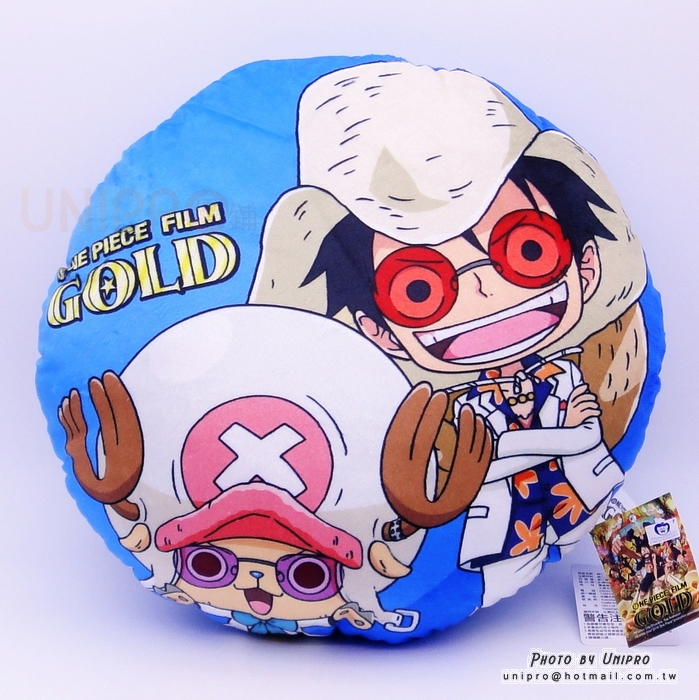 【UNIPRO】航海王 One Piece 電影版 GOLD 魯夫 喬巴 圓枕 35公分 抱枕 午安枕 靠枕 海賊王