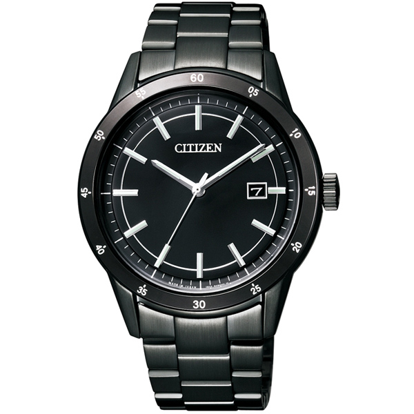 CITIZEN星辰AW1165-51E極黑動感光動能腕錶/黑面40mm