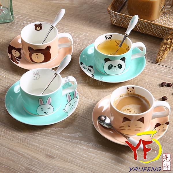 ★堯峰陶瓷★下午茶系列 韓國品牌 12點萌廚 可愛動物 咖啡杯碟組 附湯匙