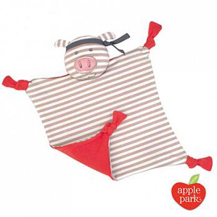 【悅兒樂婦幼用品?】美國 Apple Park【農場好朋友系列】有機棉安撫巾-功夫紅豬