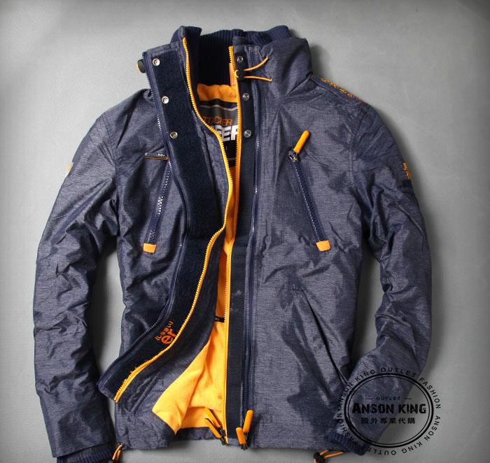 [男款] 英國名品 代購 極度乾燥 Superdry Polar Wind Attacke 男士防水防風戶外休閒外套夾克 深藍/黃