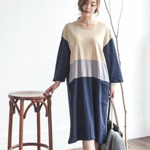美麗大街【IR3944】甜美圓領寬鬆拼色七分袖連衣裙