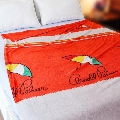 【溫暖橘色】雨傘牌 法蘭絨舒眠保暖毛毯 ◆ HOUXURY台灣製