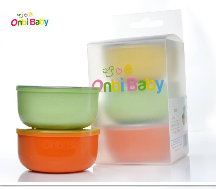 美國 Onbi Baby 歐比寶貝 不鏽鋼餐碗 三色碗 幼稚園碗 附贈不鏽鋼湯匙組 *夏日微風*